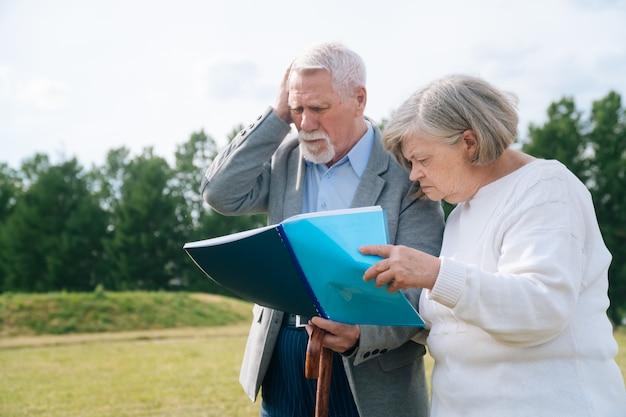 灰色の髪の年配のカップルの肖像画