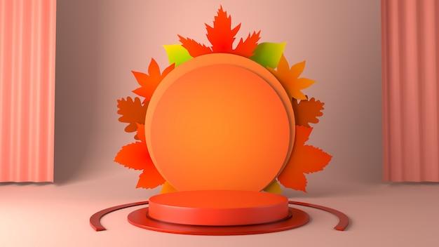 Оранжевый цилиндр витрина подиум и кленовые листья в осенний фон темы.