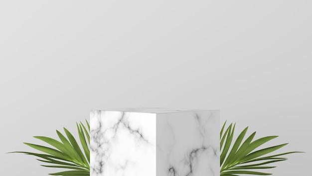 白い背景で豪華な白い大理石のボックスショーケース表彰台
