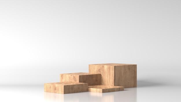 白い背景で最小限の茶色の細かい木箱ショーケース表彰台