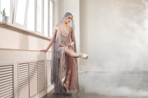 見事な外観の魅力的なバレリーナは、ベージュの透かし彫りの生地で作られたステージ衣装に身を包み、明るいスタジオで煙を背景にポーズをとっています。