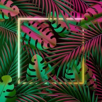 熱帯のヤシの葉とネオンの光とモンステラの背景