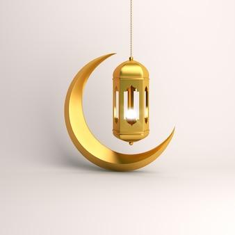イスラムの背景の金のランタンと三日月