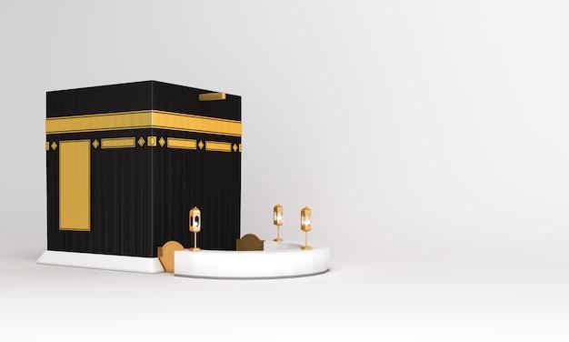 白い背景に分離されたイスラムのカーバ神殿モスク