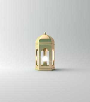 白のイスラムの背景ランタン