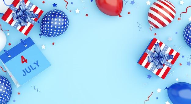 С днем независимости сша фон украшения с воздушным шаром, подарочной коробкой, календарем