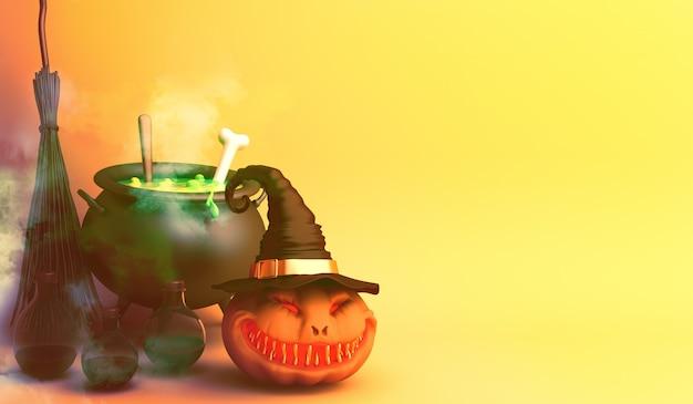 Счастливого хэллоуина с тыквенной метлой котла