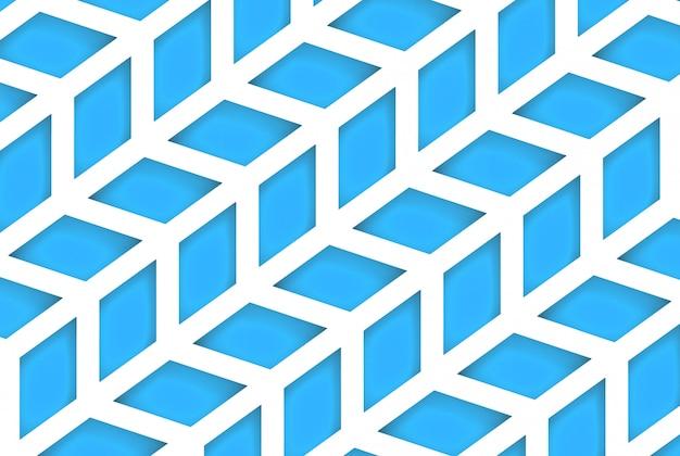 現代の斜めの青い台形幾何学的パターンの壁の背景