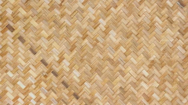 天然織り竹籐テクスチャ壁の背景。