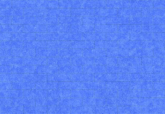 シームレスな現代青い色レンガブロックパターンテクスチャ壁の背景。