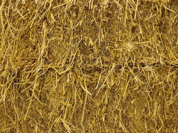 乾燥した茶色の草干し草スタック壁の背景。