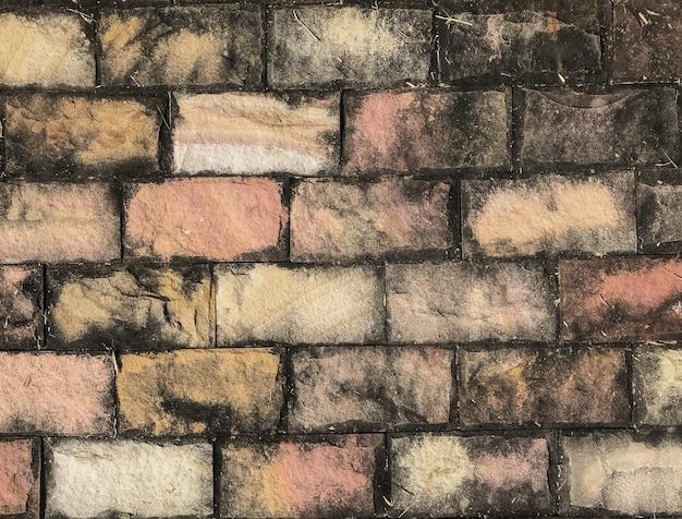 グランジの汚れた古いレトロレンガブロック壁のフロアーリングの背景