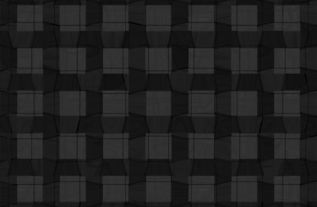 抽象的な縞模様の黒い正方形の木製パネルのテクスチャ壁の背景。