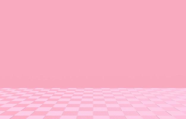 空スペースの壁の背景を持つ甘い柔らかいピンクの正方形のタイル張りの床。