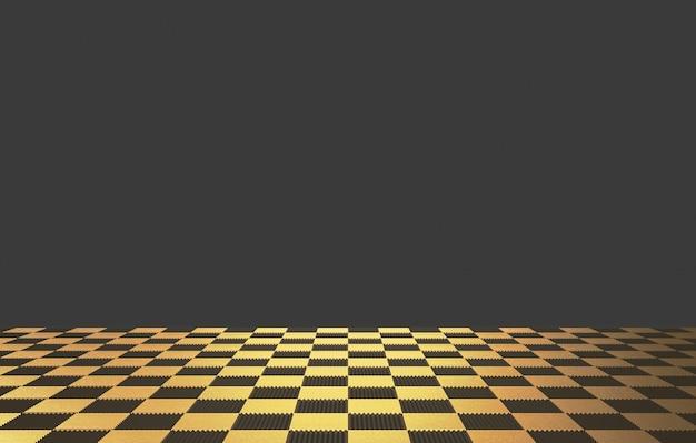 背景として暗い壁と床に金色の正方形のタイル。