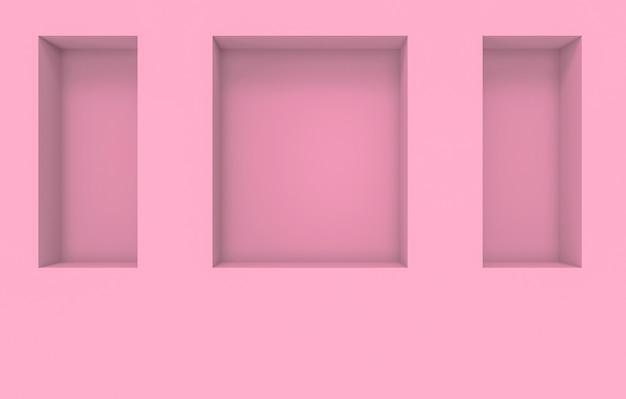 セメント壁の背景にモダンな正方形ピンクホールボックスパターン。