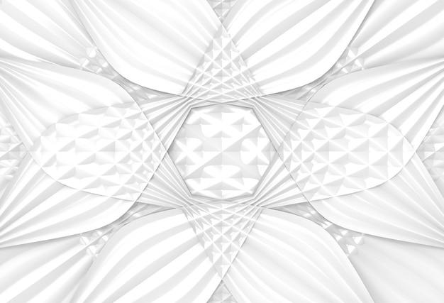 モダンな白い曲線剥奪パターン花デザインの背景。