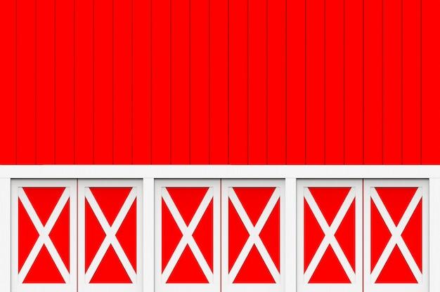 赤い木製パネル壁デザインの背景に飾る白い木製パネル。