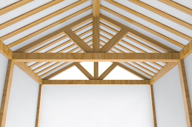 不完全な建物の下で新しい屋根の家建設作業の背景。