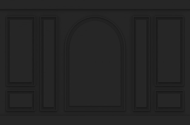 高級黒の古典的なパターンデザインヴィンテージの木製の壁の背景。