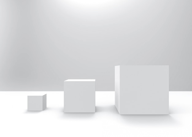 Простая белая квадратная коробка куба от маленького до большого ряда