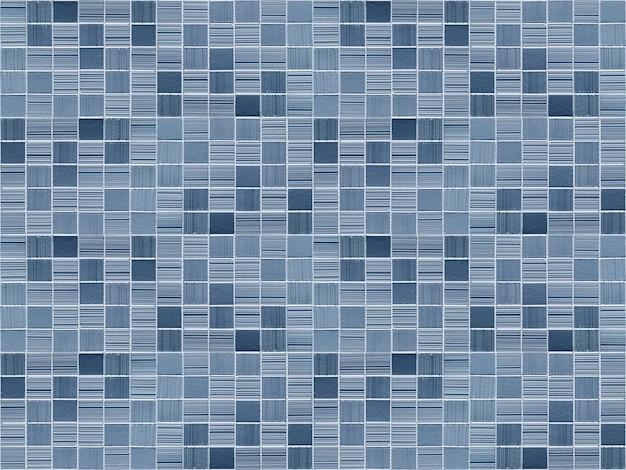 モダンなブルーの小さなモザイクスクエアレンガブロックタイルの壁
