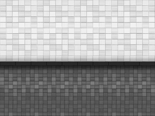 黒と白の小さなモザイク正方形レンガタイル壁デザインの背景。