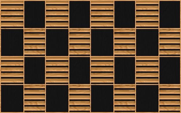暗い壁にモダンなシームレスな茶色の木の正方形のフレームパターンデザイン
