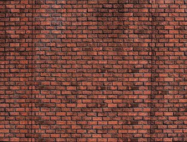 ビンテージデザインの背景の赤レンガブロック壁を風化します。