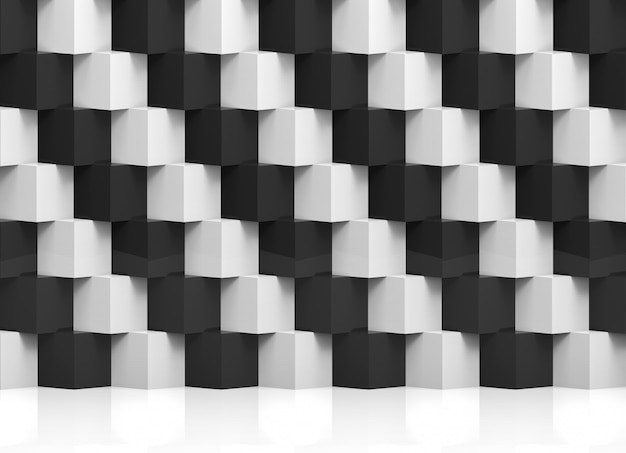 Абстрактный современный стек случайных роскошных белых и черных кубов коробки стены