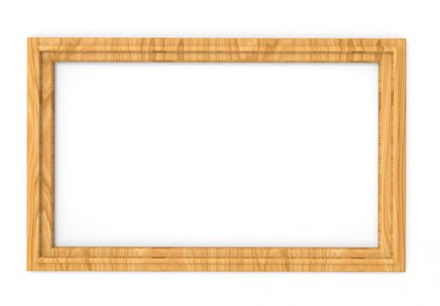 白い背景の上の現代の空のシンプルなクラシックスタイルの木製の写真フレーム。