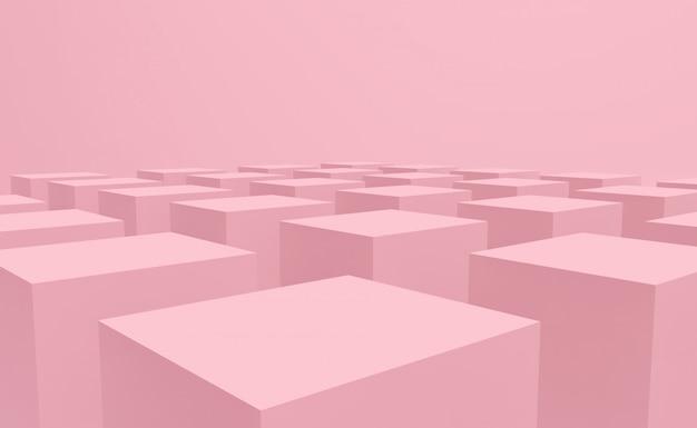 床のデザインの背景に甘いパステルピンクカラーキューブボックススタック。