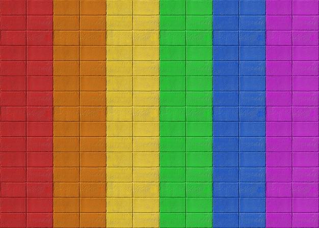 虹色鮮やかな長方形の古いレンガタイル壁デザインの背景。