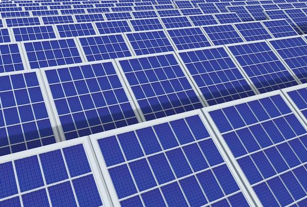 Система генератора электрической энергии, панели солнечных батарей поля фермы промышленности фон.
