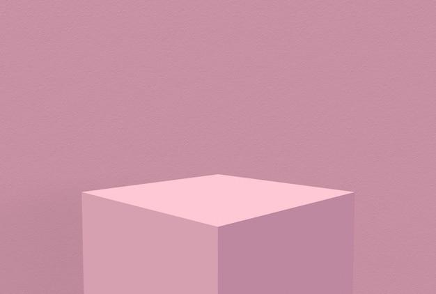 壁の背景を持つ甘い空白パステルピンクキューブボックス。