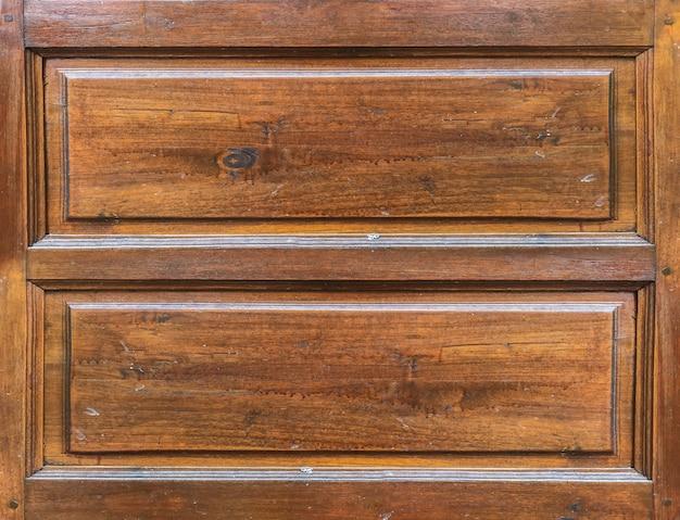 汚れた古い高齢者茶色の木製窓のドアの壁の背景。