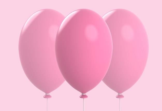 Три большие сладкие розовые шары, изолированные на фоне мягкого цвета