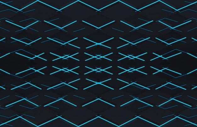 青い光壁床と未来的な黒い正方形グリッドプレート