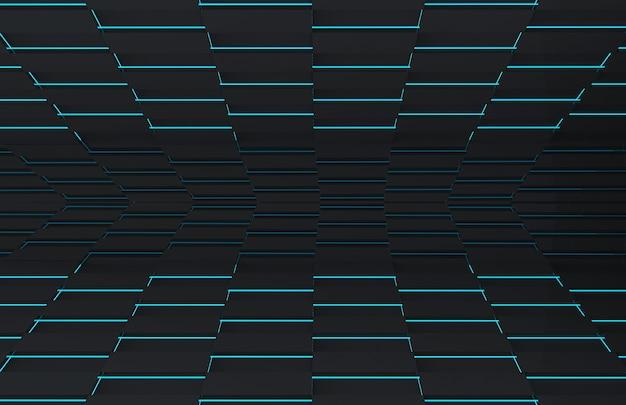 青い光の壁の床と黒い正方形のグリッドプレート。