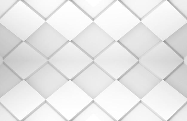 白いグリッドの正方形のタイルアートパターンテクスチャ壁。