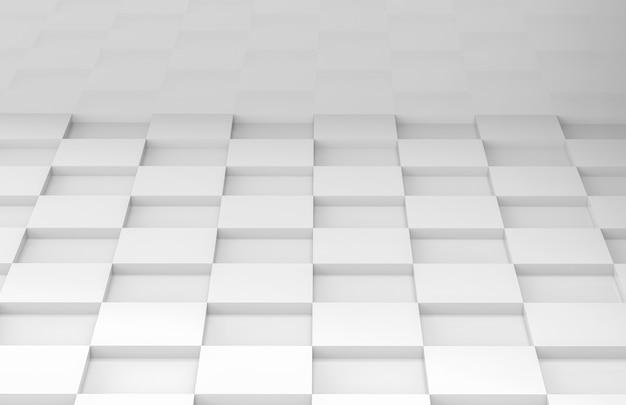 白い正方形のグリッドタイル床コーナールーム壁