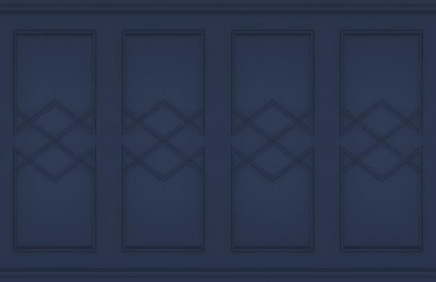 モダンな古典的なダークブルーの壁のデザインの背景。