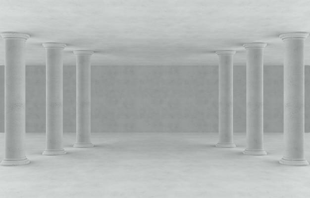 Высокие строки поляка римского стиля в пустой предпосылке комнаты цемента.