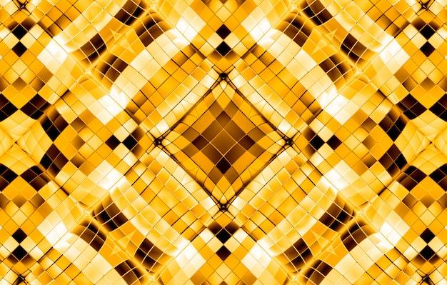 豪華な黄金の正方形グリッド形状パターン背景