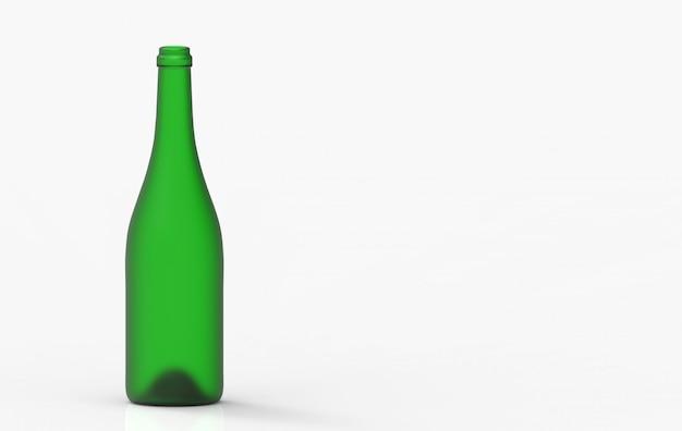 Опорожните стекло бутылки красного вина зеленое при путь клиппирования изолированный на белой предпосылке.