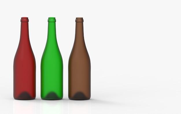 Опорожните строку бутылочного стекла красного вина при путь клиппирования изолированный на белой предпосылке.