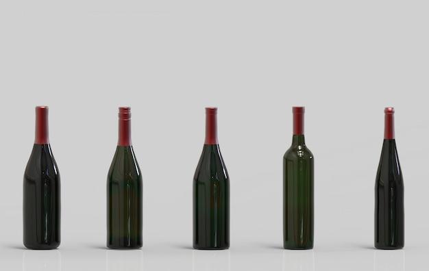 Опорожните стекло бутылки красного вина зеленое при путь клиппирования изолированный на серой предпосылке.