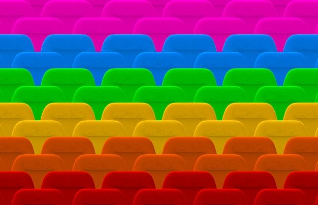 Ряд красочных лгбт-кинотеатров
