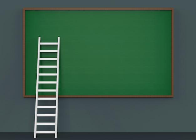 空の緑の黒板に傾いている白いはしご階段