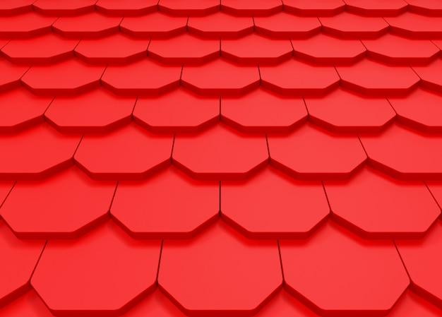 赤い屋根のパターンの壁の背景の透視図